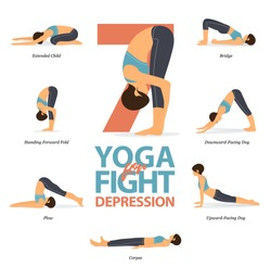 Infographic of 5 Yoga poses for Easy yoga at home in concept of fight for depression in flat design. Beauty woman is doing exercise for body stretching. Set of yoga at home infographic . Yoga Vector.
