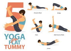Infographic of 5 Yoga poses for flat tummy in flat design. Beauty woman is doing exercise for body stretching. Set of yoga sequence Infographic.  Cartoon Vector art and Illustration.