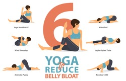 Infographic of 6 Yoga poses for reduce belly bloat in flat design. Beauty woman is doing exercise for body weight loss. Set of yoga sequence Infographic. Yoga Cartoon Vector art and Illustration.