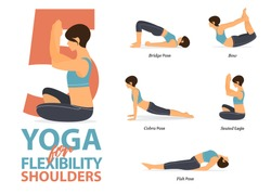 Infographic of 5 Yoga poses for shoulders flexibility in flat design. Beauty woman is doing exercise for body stretching. Set of yoga sequence Infographic.  Vector Illustration.