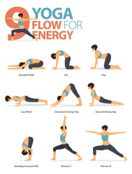 Infographic of 9 Yoga poses for workout at home in concept of yoga flow for energy in flat design. Woman exercising for body stretching. Yoga posture or asana for fitness infographic. Cartoon Vector.