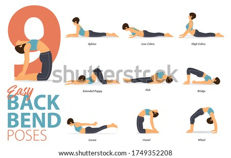 infographic of 6 yoga poses for