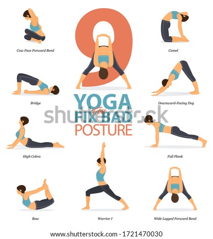 Infographic of 9 Yoga poses for Yoga at home in concept of fix bad posture in flat design. Woman is doing exercise for body stretching. Set of yoga posture or asana infographic. Yoga Vector.