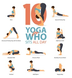 Infographic of 6 Yoga poses for Yoga at home in concept of yoga for who sit all day in flat design. Woman is doing exercise for body stretching. Set of yoga posture or asana infographic. Vector.