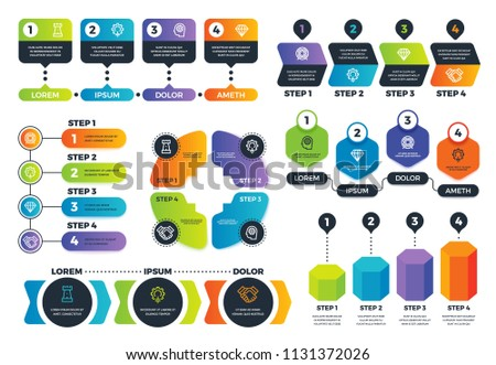 Infographic options. Arrow diagrams, abstract process charts and strategy infographs with steps. Business presentation vector template. Connected diagram and infographic, infochart workflow