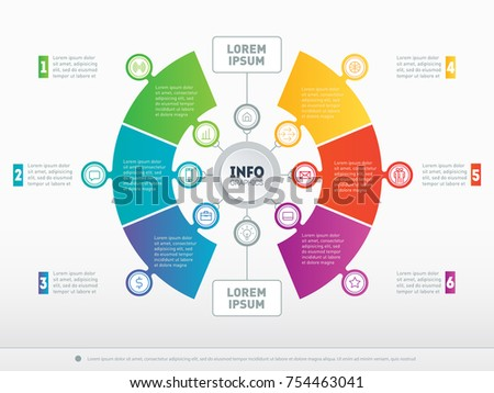 Infographic or Business presentation with 6 options. Vector infographics or mind map of technology or education process with 6 steps. Web Template of a chart, mindmap or circle diagram