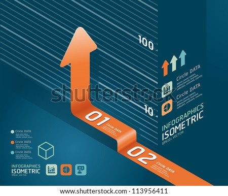 infographic orange arrow diagram chart. Detailed   / can be used for infographics / graphic or advertise layout vector illustration