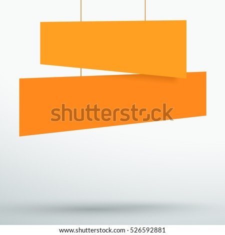 Infographic 2 Orange Title Boxes Hanging 3d Vector