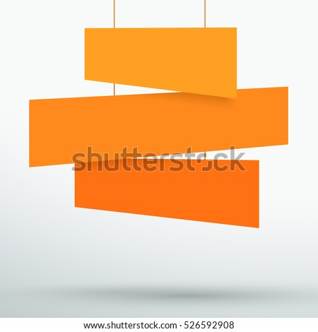 Infographic 3 Orange Title Boxes Hanging 3d Vector