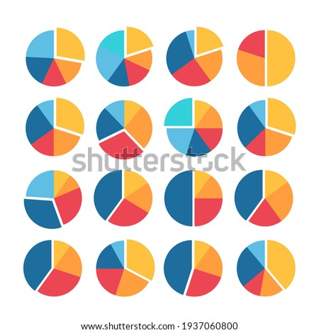 Infographic pie graph set. Vector illustration. Colorful diagram collection with sections or steps. Pie charts for infographic, UI, web design, business presentation on white background.