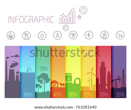 Infographic poster with ecological problems. Polluted air by factories, toxic waste, water pollution, renewable sources of energy, development of agriculture vector