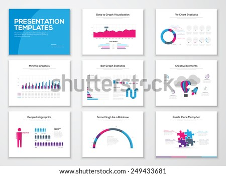 Infographic presentation slide templates and business vector brochures. Big set of modern infographic vector elements for web, print, magazine, flyer, brochure, media, marketing and advertising.