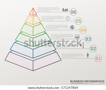 Infographic pyramid with numbers and business icons, line style, template with stepwise structure with 6 steps.