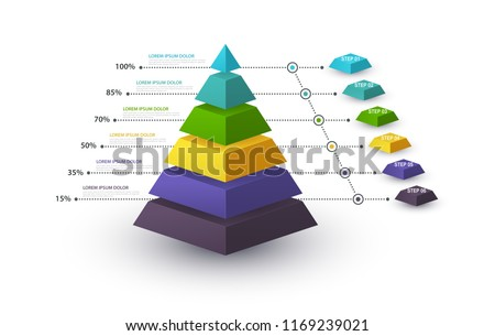 Infographic pyramid with step structure and with percentages. Business concept with 6 options pieces or steps. Block diagram, information graph, presentations banner, workflow.