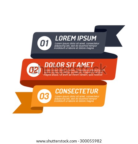 Infographic ribbon design element. Template for diagram, graph, presentation and chart. Business concept with 3 options, parts, steps or processes.