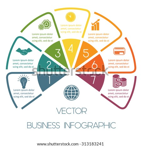 Infographic Semicircle template colourful lines with text areas on seven positions