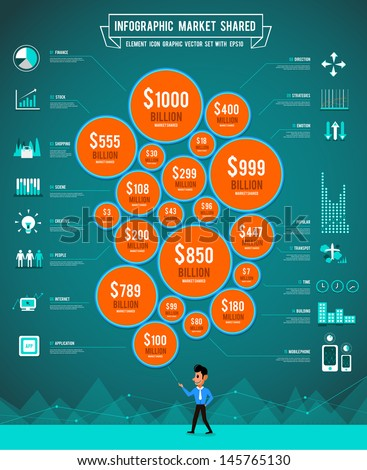 Infographic set icon and direction graph chart for business information show percent money
