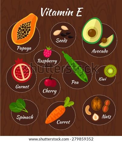 infographic set of vitamin e