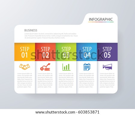 Infographic tab index design vector and marketing template business. Can be used for workflow layout, diagram, annual report, web design. Business concept with 5 options, steps or processes.