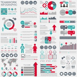 Infographic teamwork vector design template. Can be used for workflow, startup, business success, diagram, infographic banner, teamwork, design, infographic elements, set information infographics.