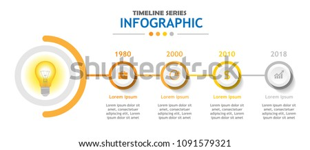 Infographic template for business. 4 steps Timeline diagram, Roadmap chart. Vector infographic.