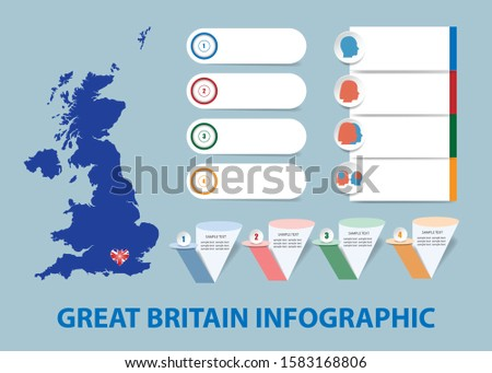 Infographic template for economic, sociological, demographic and other presentations. The blind map of Great Britain and a number of different blank labels ready for your text. All on trendy blue back