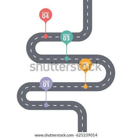 Infographic template. Four steps diagram. Winding asphalt road with color pinpointers. Vector EPS 10