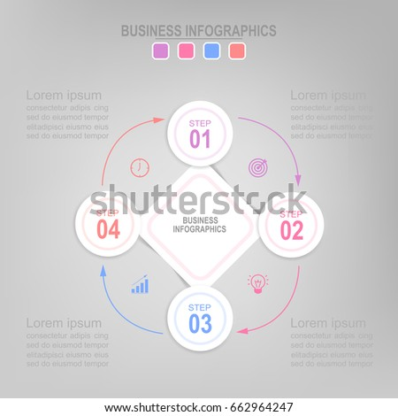 Infographic template four steps on squares, tag banner connecting, pastel work sheet, flat design of business icon, vector