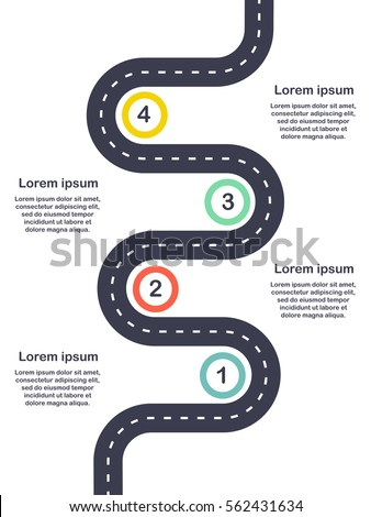 Infographic template four steps Road diagram. Vector EPS 10