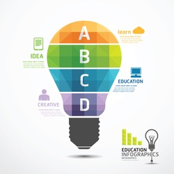 infographic Template geometric Light bulbs banner . concept vector illustration