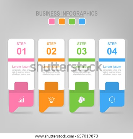 Infographic template of four steps on squares, envelope of banner, arrows point down, flat design of business icon, vector
