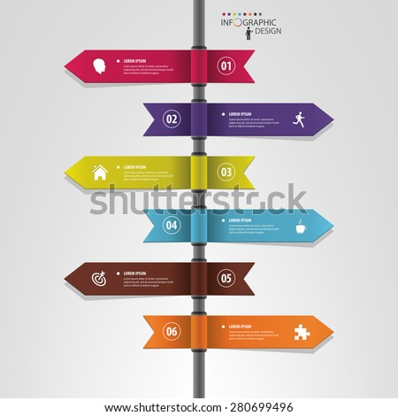 Infographic template of multidirectional pointers on a signpost