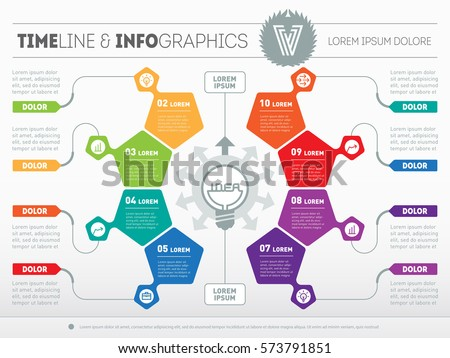 Infographic template of technology or education process. Business presentation concept with 8 options - from idea to final product. Template of a circle chart, diagram. Part of the report with icons