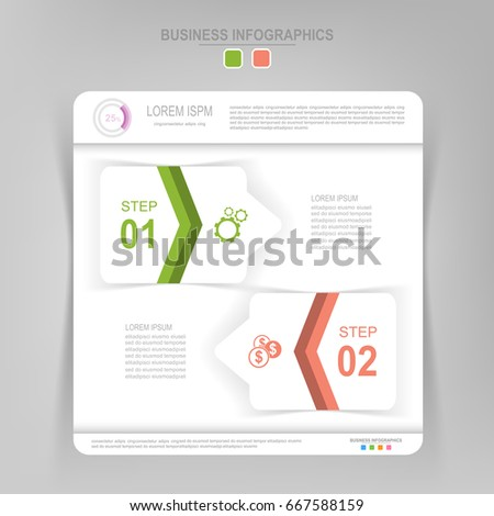 Infographic template of two steps on squares, tag banner, work sheet, flat design of business icon, vector