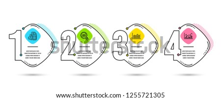 Infographic template 4 options or steps. Set of Data analysis, Bill accounting and Money diagram icons. Infochart sign. Magnifying glass, Audit report, Currency diagram. Stock exchange. Vector