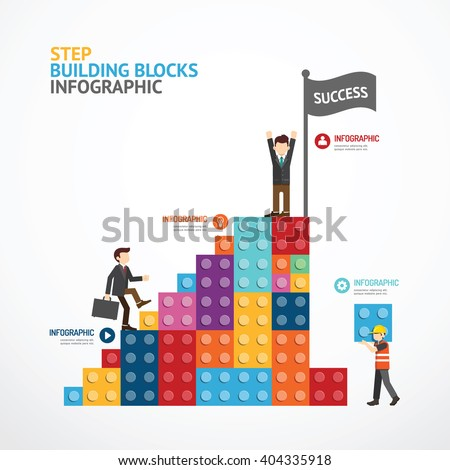 Infographic Template step building blocks banner . concept vector illustration