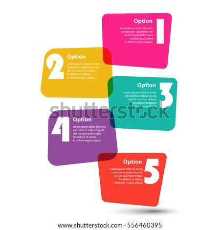 Infographic Template. 5 steps or actions. Colorful stickers in the form of squares of irregular shape. Vector EPS 10
