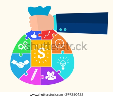 infographic Template with businessman hand hold money bag jigsaw banner . concept vector illustration