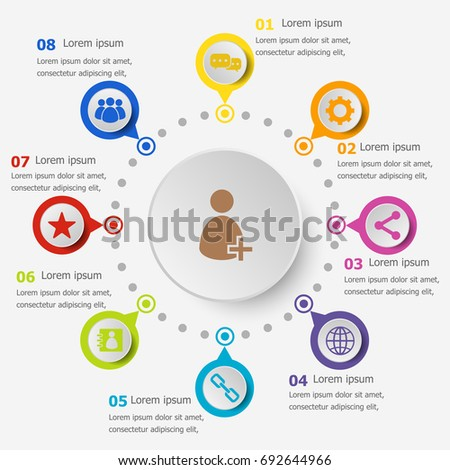 Infographic template with chat icons, stock vector