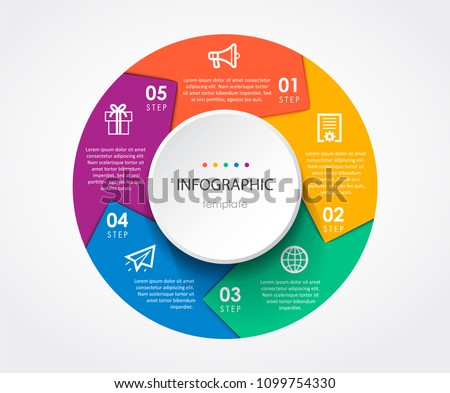 Infographic template with circular arrows. Can be used for cycling diagram, graph, presentation and round chart. Business concept with 5 options, parts, steps or processes.