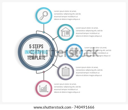 Infographic template with five steps or options, workflow, process diagram, vector eps10 illustration