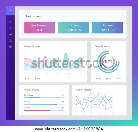 Infographic template with flat design daily statistics graphs, dashboard, pie charts, web design, UI elements. Network management data screen with charts and diagrams