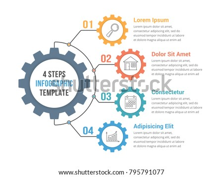 Infographic template with gear with four elements, steps or options, vector eps10 illustration