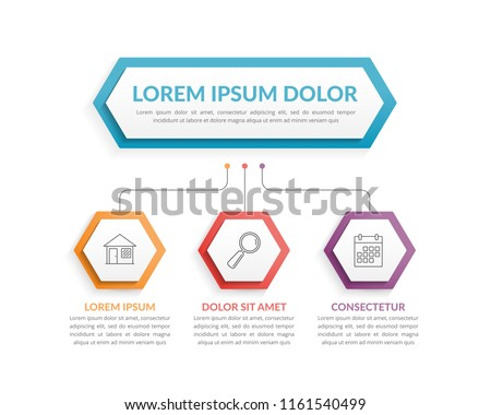 Infographic template with hexagons with main idea and 3 steps or options, workflow, process chart, vector eps10 illustration