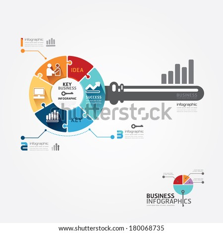 Infographic Template with key business jigsaw banner . concept vector illustration
