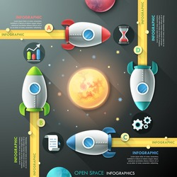 Infographic template with 4 rockets and planets in open space. Vector. Can be used for web design and  workflow layout