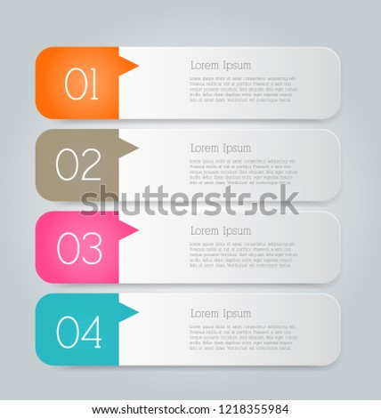 Infographic template with step options for business, startup concept, web design, data visualization, banner, brochure or flyer layouts, presentation, education. Abstract 3d stock vector illustration. #1218355984