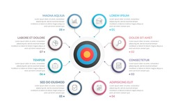 Infographic template with target with eight steps or options, workflow, process diagram, vector eps10 illustration