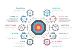 Infographic template with target with ten steps or options, workflow, process diagram, vector eps10 illustration
