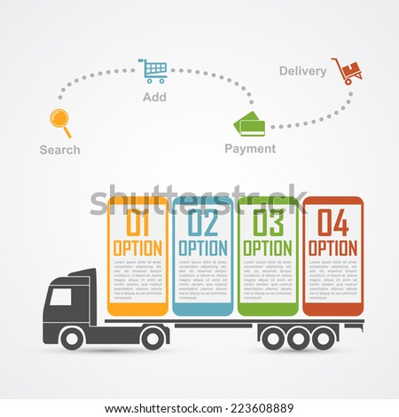 Infographic Template With Truck Carrying Mobile Phones And Some ...